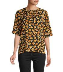 kenzo women's marigold-print elbow-sleeve top - marigold - size 34 (2)