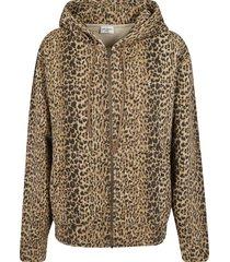 saint laurent zipped leopard printed hoodie