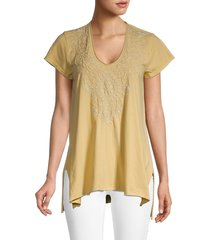 johnny was women's tasya embroidery draped top - marigold - size xs