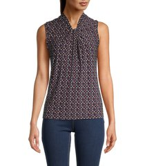 tommy hilfiger women's sleeveless printed blouse - red blue - size l