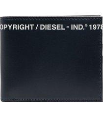 diesel logo print billfold wallet - blue
