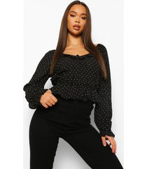 blouse met stippen en franjes, black