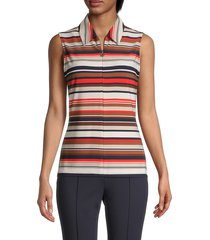 tommy hilfiger women's striped sleeveless top - flame - size s