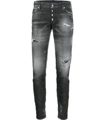 dsquared2 distressed zipped ankle skinny trousers - black
