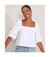 blusa ampla de algodão manga bufante decote reto off white