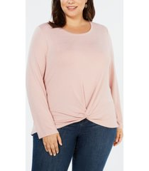 style & co plus size twist-front top, created for macy's