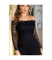 sexy jumpsuit met kant & carmen cutout zwart