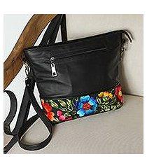 cotton accent leather shoulder bag, 'sophisticated bouquet' (mexico)
