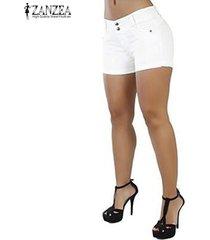zanzea pantalones cortos de verano para mujer pantalones cortos de club de fiesta legging para mujer -blanco