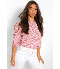 woven printed ruched sleeve blouse, coral