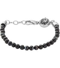 diesel men's silver tone stainless-steel beaded bracelet