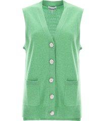 ganni cashmere vest with jewel buttons