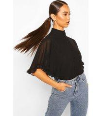 geweven tuniek blouse met franjes mouwen, zwart