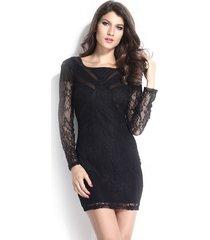 vestido grupo tabu 604 - negro con encaje