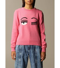 chiara ferragni sweater chiara ferragni wool pullover with eyes flirting embroidery