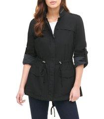 women's levi's parachute cotton fishtail jacket, size medium - black