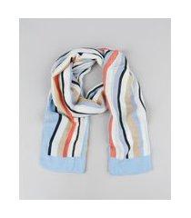 lenço feminino estampado listrado branco
