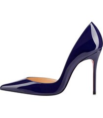 women's 10cm pointed toe stiletto high heels patent leather dress pumps,navy