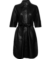 clare thin leather dress kort klänning svart mdk / munderingskompagniet