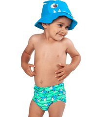 conjunto praia baby tapa fralda puket tubarã£o verde ãgua verde - verde - menino - dafiti