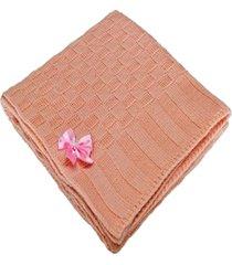manta beb㊠tricot tric㔠maternidade recã‰m nascido cod 1038.1 rosa - multicolorido - dafiti