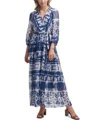 calvin klein tie-dyed wrap maxi dress