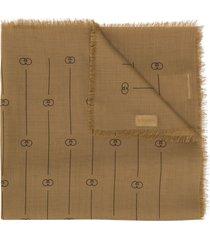 gucci retro gg stripes scarf - neutrals