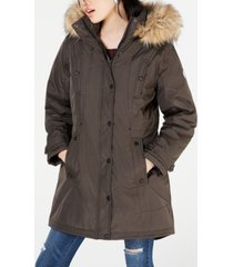 madden girl juniors' hooded faux-fur-trim parka