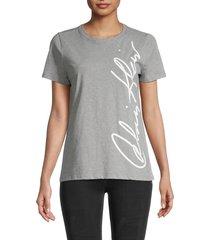 calvin klein women's logo short-sleeve t-shirt - heather granite - size l