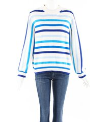 chinti and parker breton blue striped cotton knit sweater blue/white sz: s