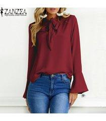 zanzea mujeres de gran tamaño sólido largo de la llamarada del partido holgada manga ata para arriba la pajarita suelta elegante suéter de la manera del ocio de la blusa breve -vino rojo