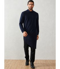 hombre casual high cuello camiseta de largo medio liso irregular