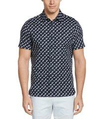 men's paisley print stretch short sleeve button-down shirt