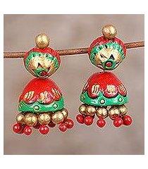ceramic dangle earrings, 'festive red' (india)