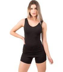 macaquinho saia feminino serra e mar modas liso preto - preto - feminino - poliã©ster - dafiti