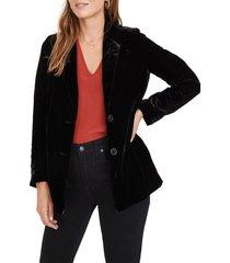women's madewell dorset velvet blazer, size xx-small - black
