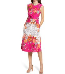 vince camuto floral mix print knot waist fit & flare midi dress, size 4 in pink multi at nordstrom