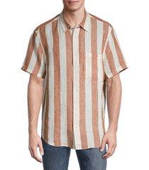 madewell men's striped short-sleeve linen shirt - pink - size s