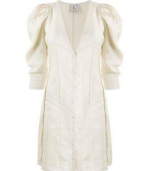 l'autre chose v-neck button front dress - neutrals
