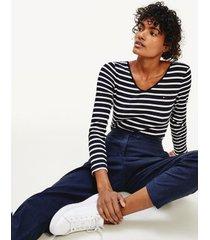 tommy hilfiger women's scoop-neck bodysuit navy/ white stripe - xl