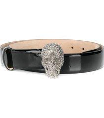 philipp plein crystal skull belt - black