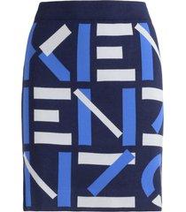 kenzo blue sport skirt with logo all over