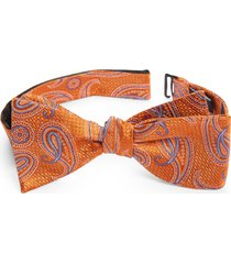 men's nordstrom diley paisley silk bow tie, size one size - orange