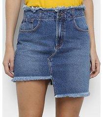saia jeans coca cola curta assimétrica