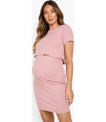 zwangerschap geribbelde borstvoeding bodycon jurk, rose