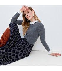 motivi maglia a coste con bordi a contrasto donna grigio