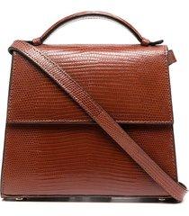 hunting season reptile effect tote bag - brown