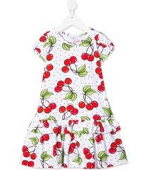 monnalisa cherry print ruffle hem dress - white