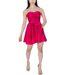 dear moon juniors' strapless satin fit & flare dress