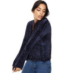 sweater azul moni tricot chenille